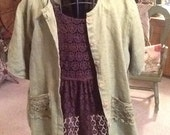 Altered green Flax linen blouse with brown lace flowing under blouse