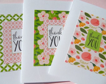 Floral Thank You Cards - Bridal Shower Thank You Cards - Baby Shower Thank You Cards - Wedding Thank You Cards -Floral Cards - LLTY1