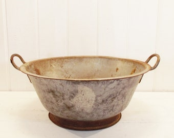 Vintage Bowl Large Metal Bowl Dough Bowl Mixing Bowl with Handles