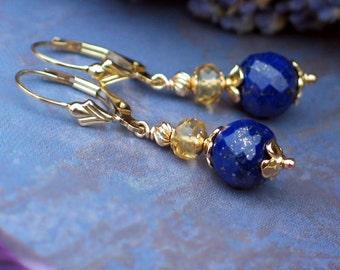 Lapis Lazuli and Citrine Earrings | Sapphire Blue Lapis - Golden Champagne Citrine | 14k Gold Fill Fleur de Lis Leverbacks | Ready to Ship