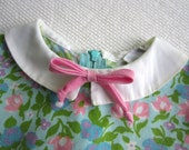 Vintage Retro Pink and Blue Baby Girl Dress Smocked Sleeves Polly Flanders