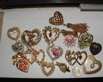 16 HEART PIN COLLECTION - all work all wearable  all collectible- my destash lot all vintage