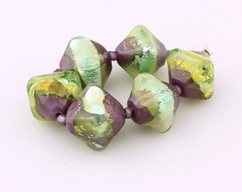 Glass Lampwork Bead Set, Iridescent Green, Purple and Silver Chunky Crystal Bicone Beads
