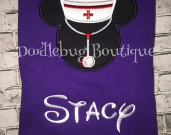 Minnie Mouse nurse shirt with FREE name