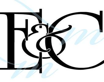 Intertwining Ampersand Monogram - E&C (instant download - JPG, PSD, PDF)