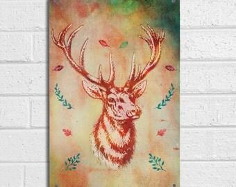 Vintage Stag orange watercolour paint background sign A4 metal plaque pubs