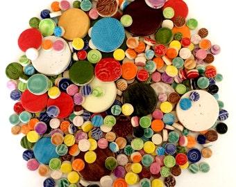 Mosaic Circle Tiles - 1 lb High Fired Ceramic Tiles - Mixed Bag