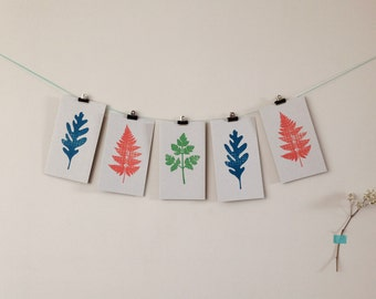 Pack of 3 botanical handprinted leaf cards greetings cards black inside eco-friendly recycled card