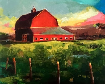Sunset at the Farm - 12x12 Original Painting by Cari Humphry