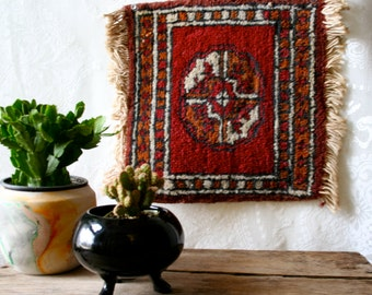 Vintage Small Prayer Rug Wall Hanging Weaving MidEastern