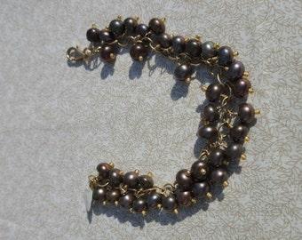 Bronze freshwater pearl fringe bracelet.