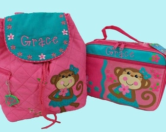 Child's Personalized Stephen Joseph GIRL MONKEY Backpack and Lunchbox School Set-Monogramming Included