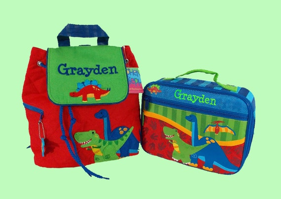 Child's Personalized Stephen Joseph DINO Backpack and Lunchbox School Set-Monogramming Included