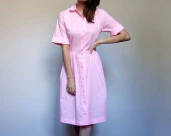 70s Shirt Dress Women Button Up Pleated Highlighter Pink Day Dress 1970s Short Sleeve Summer Dress - Extra Large XL
