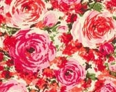 """20% OFF Pink Packed Floral Cotton Sateen, Gertie by Gretchen Hirsch Fabric, 43"""" wide, 1 yard"""