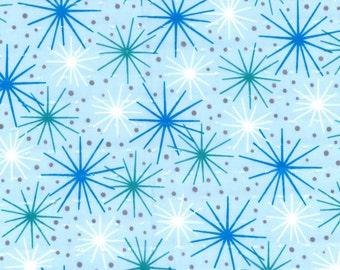 """Swiss Dot Blue Atomic Starburst Cotton Fabric, Gertie by Gretchen Hirsch Fabric, 48"""" wide, 1 yard"""