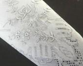 "White vintage Hand embroidered BRIDAL HANDKERCHIEF 1960s white batiste linen Ladies Hankie Wedding ""something old"" Baptism Confirmation"