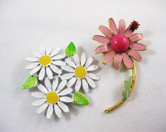 Vintage Enamel Flower Pins, Set of Two