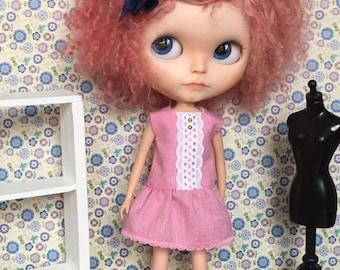 Pink lace dress for Blythe - Little Lénie ooak