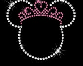 "SMALL 3.7"" Minnie Mouse Disney Princess tiara iron on rhinestone transfer your color choice"