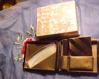 Vintage ZELL Compact RARER Orig Box & Carry Case with LIPSTICK/ Compact/Comb Design Name Roundtowner