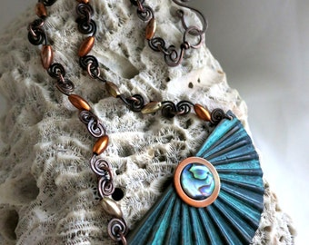Neptune's Daughter, Verdigris Copper & Abalone Shell Necklace, One of a Kind, Ready to Ship