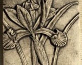 Iris Flower 4x4 ceramic porcelain relief tile
