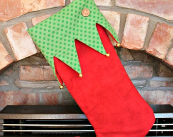 Funky Festive ELF Christmas Stocking Green & Red with Jingle Bells
