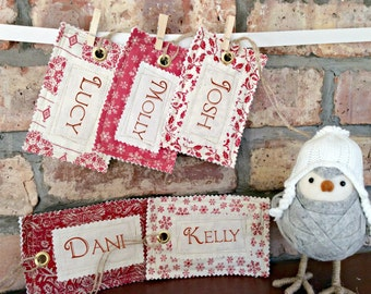 Vintage Style Fabric Name Tag for your Santa Sack, Stocking or Gift