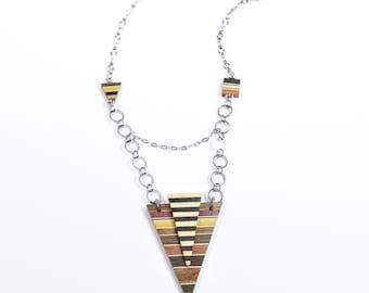 necklace / women / triangle /unique / pendant / wood / isabelle ferland