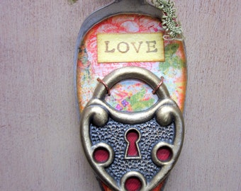 Love is the Key Altered Silverware Wall Hanging Assemblage
