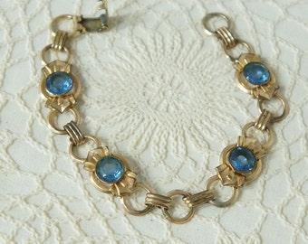Vintage Bracelet Small Wrist Bracelet Gold Filled Dainty Aquamarine Glass Stone Circle Bracelet