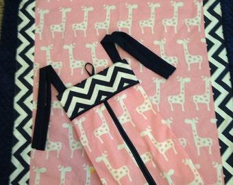Baby blanket Quilt Navy pink giraffe girl minky dot