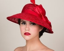 Bright Red Straw Hat with Wide Brim. Honeycomb Pattern Weave. Kentucky Derby. Silk Abaca. Arrow Quill Feather. Dramatic. Bold.