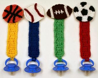 Sporty Pacifier Holders - PDF Crochet Pattern - Instant Download