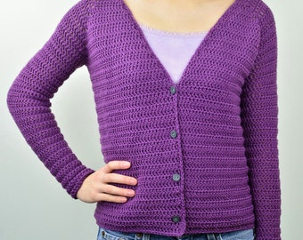 V Neck Cardigan Sweater - 9 Sizes - PDF Crochet Pattern - Instant Download