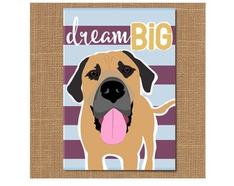 Dream Big Dog Magnet, Mastiff Magnet, Dog Fridge Magnet, Dog Lover Gift, Corgi Lover, Graduation Gift, Pet Lover Gift, Mastiff Magnet