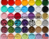"""20 1"""" FLAT Color Mix Bottle Caps Double Sided Painted Linerless Brand New Flattened Caps, You Choose the Colors"""