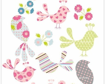 ON SALE Clipart bird, Birds and Peacock , Download and print PNG File.