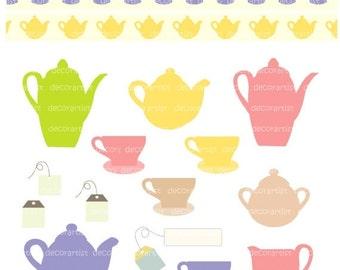 ON SALE Tea party clipart, Instant download Digital clipart for all use,TEA Passion, Teapot clipart, Tea cup, tea set
