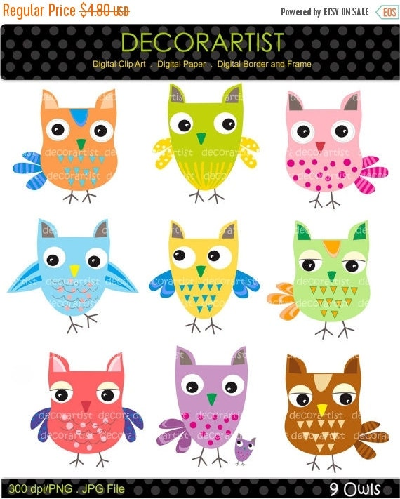 ON SALE owls clip art , instant download Digital clip art, 9 OWLS , Download and print Png File
