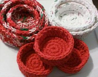 Nesting Bowls, Catchall Bowl, Crochet Bowls, Storage Bowls, Christmas Bowls, Gift Basket