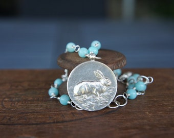 Rabbit Medallion Necklace Silver Handmade Customizable