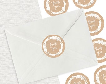 """floral wreath thank you label - kraft paper look printable stickers - 2"""" round envelope seal, wedding stationery, shop branding, business"""