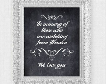 in memory of chalkboard wedding sign - printable file - ceremony or reception wedding signage remembrance memorial poster instant download