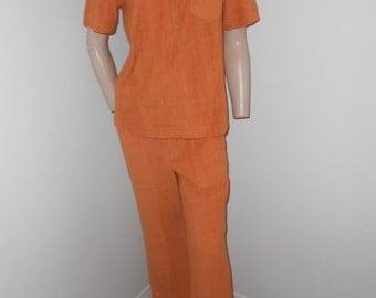 Men's Orange 2-Piece Terry Leisure Outfit - Size S