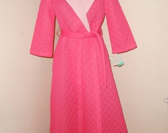 Hot Pink Nylon 60's Robe - Size M-L