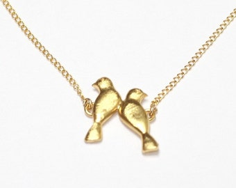 Birdes necklace 14k gold filled