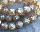 12mm 8 pcs. Czech Glass Firepolish champagne opalite with Picasso faceted round Beads