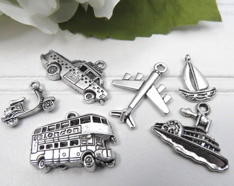 6 I LOVE to TRAVEL Tibetan Silver Theme Charms,  Charm Set Collection, Double Decker Bus, Taxi, Plane, Scooter, Ship, Sailboat
